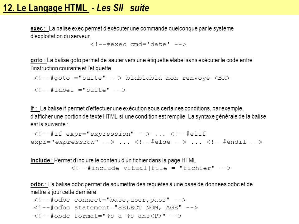 12. Le Langage HTML - Les SII suite