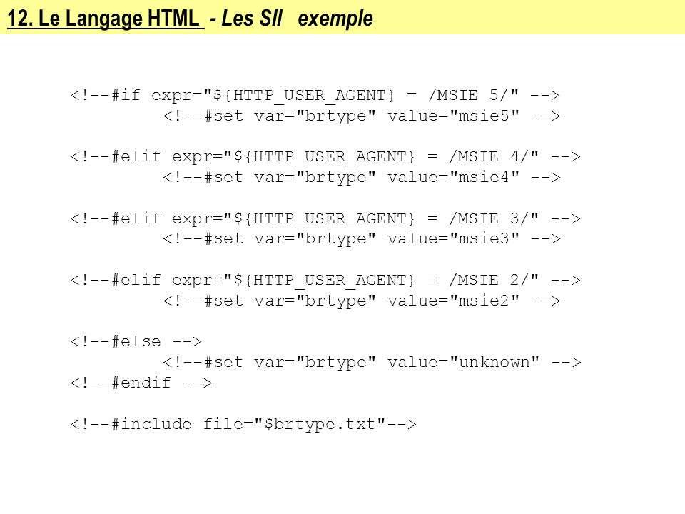 12. Le Langage HTML - Les SII exemple
