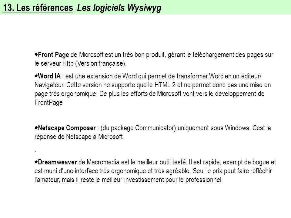 13. Les références Les logiciels Wysiwyg