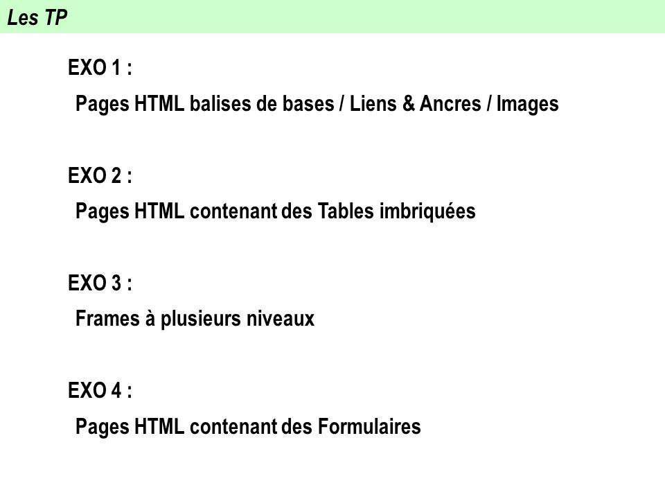 Les TP EXO 1 : Pages HTML balises de bases / Liens & Ancres / Images. EXO 2 : Pages HTML contenant des Tables imbriquées.