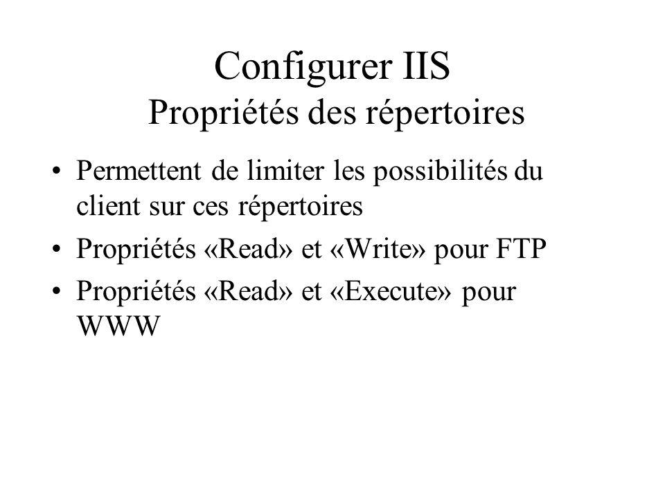 Configurer IIS Propriétés des répertoires