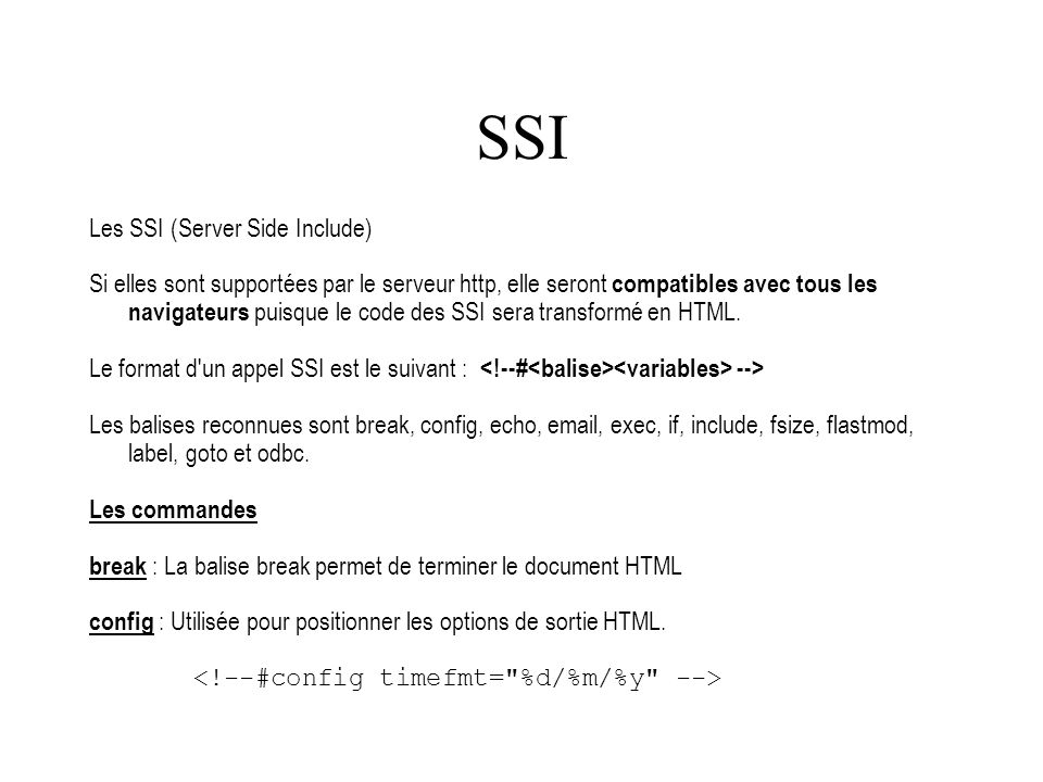 SSI Les SSI (Server Side Include)