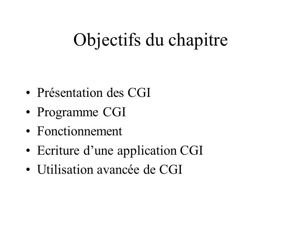 Objectifs du chapitre Présentation des CGI Programme CGI