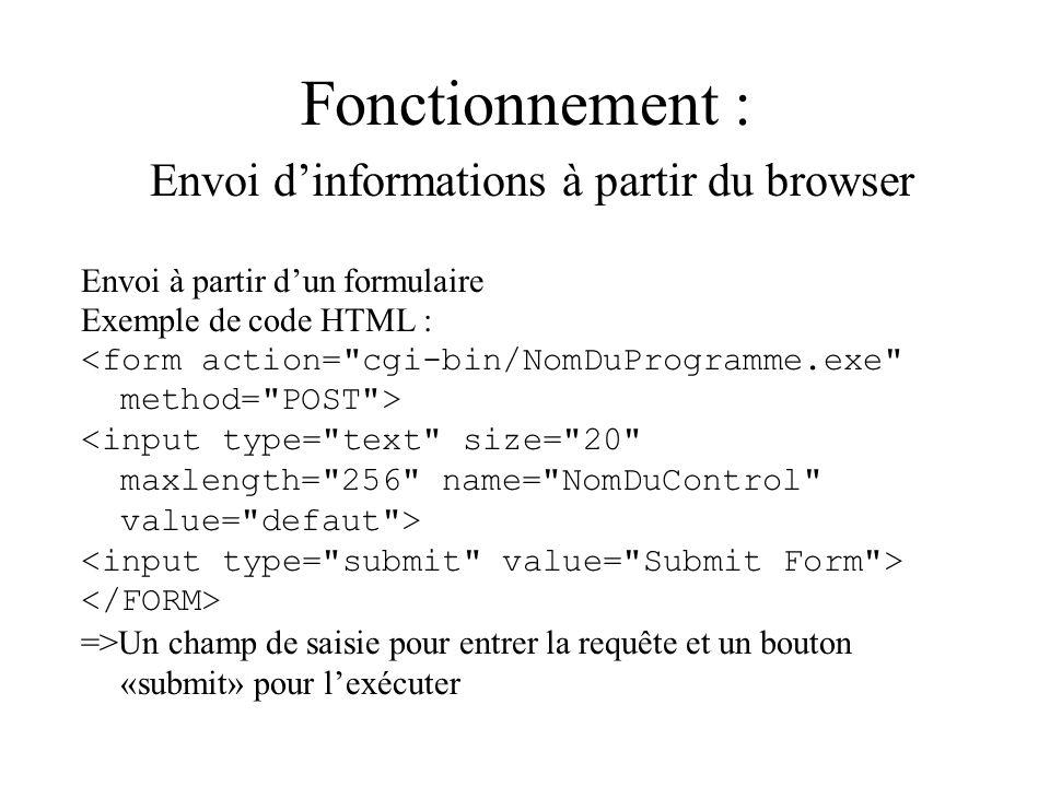 Fonctionnement : Envoi d'informations à partir du browser