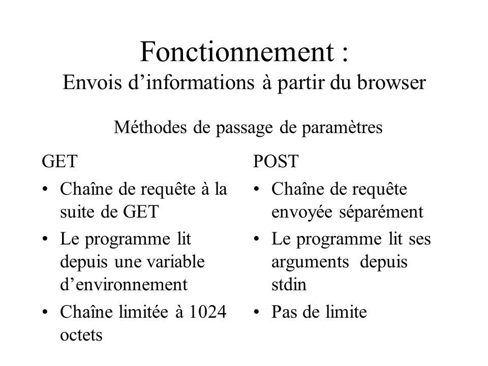 Fonctionnement : Envois d'informations à partir du browser