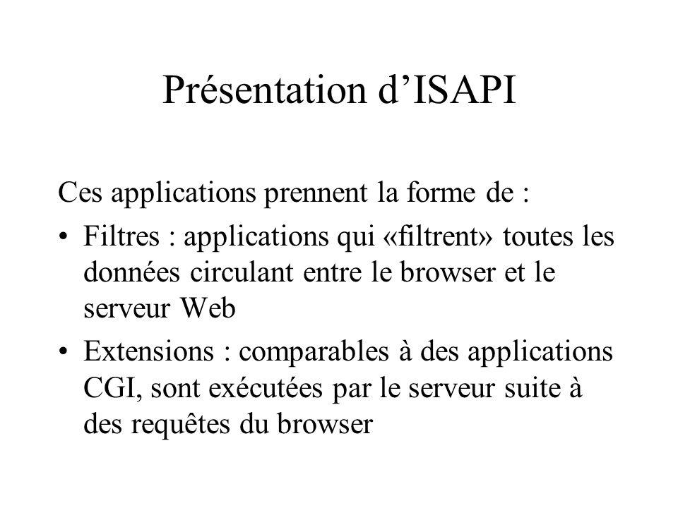Présentation d'ISAPI Ces applications prennent la forme de :