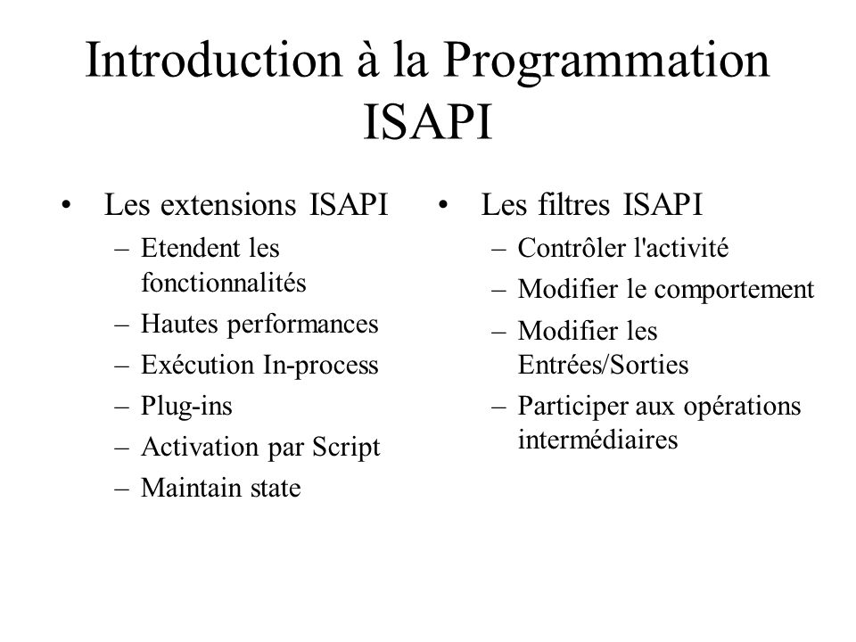 Introduction à la Programmation ISAPI