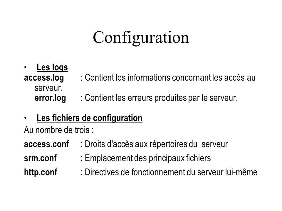 Configuration Les logs
