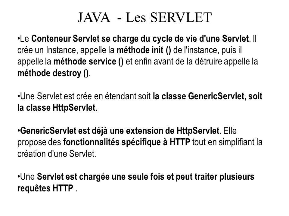 JAVA - Les SERVLET