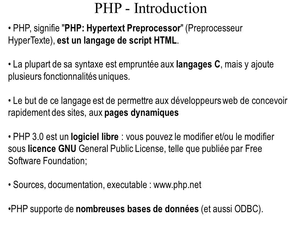 PHP - Introduction PHP, signifie PHP: Hypertext Preprocessor (Preprocesseur HyperTexte), est un langage de script HTML.