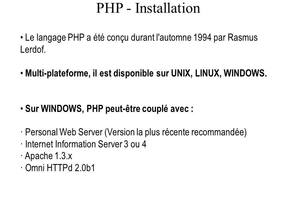 PHP - Installation Le langage PHP a été conçu durant l automne 1994 par Rasmus Lerdof. Multi-plateforme, il est disponible sur UNIX, LINUX, WINDOWS.