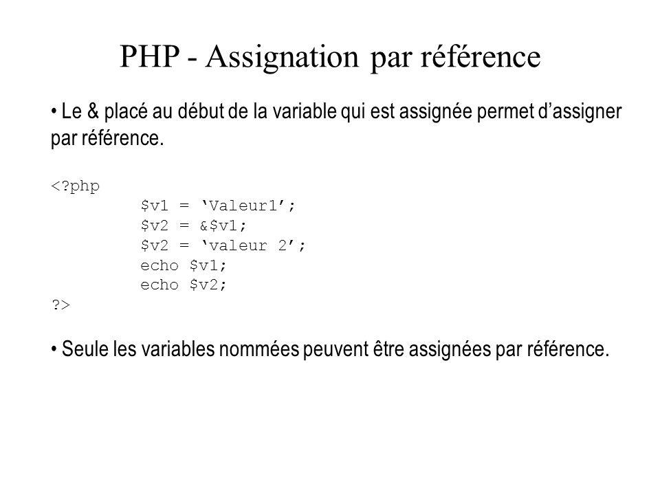 PHP - Assignation par référence