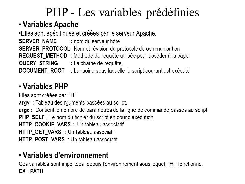 PHP - Les variables prédéfinies