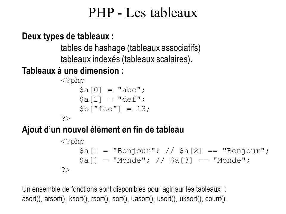 PHP - Les tableaux Deux types de tableaux :