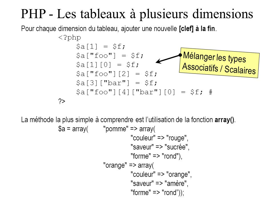 PHP - Les tableaux à plusieurs dimensions