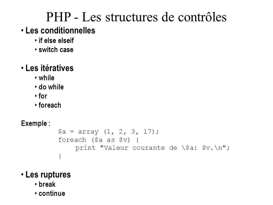 PHP - Les structures de contrôles