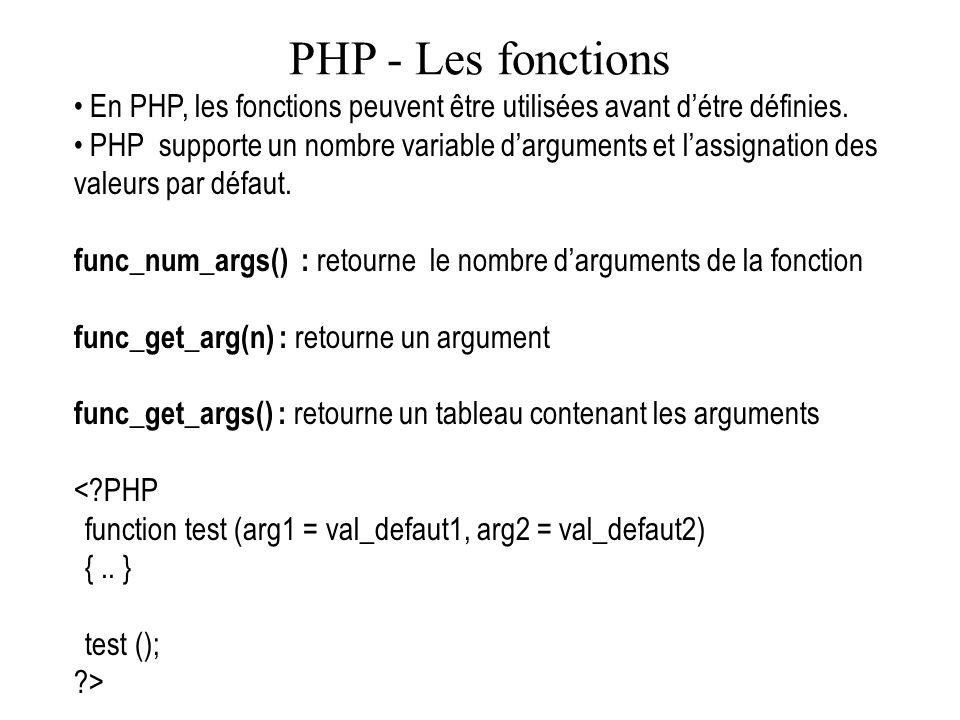 PHP - Les fonctions En PHP, les fonctions peuvent être utilisées avant d'étre définies.