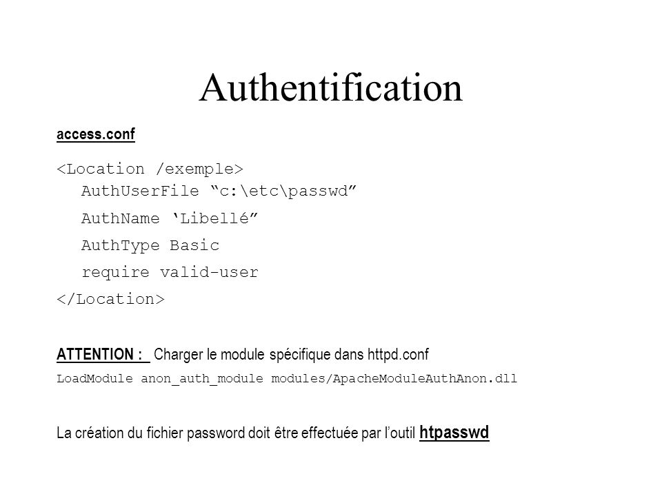 Authentification access.conf <Location /exemple>