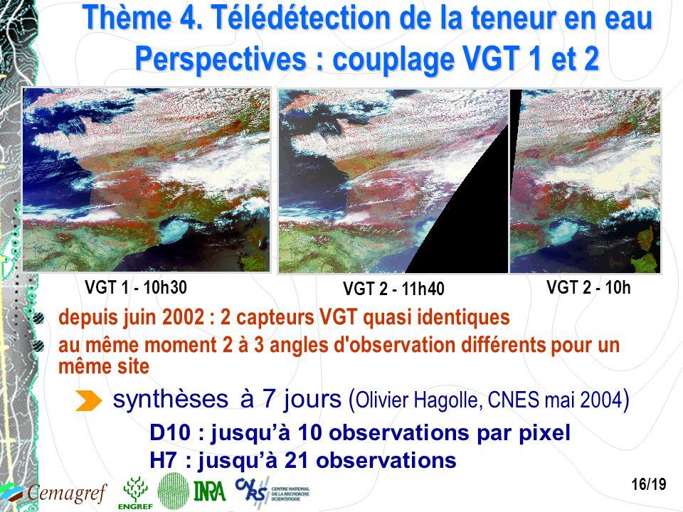 Thème 4. Télédétection de la teneur en eau Perspectives : couplage VGT 1 et 2