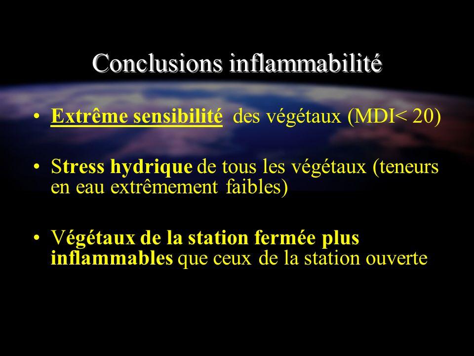 Conclusions inflammabilité