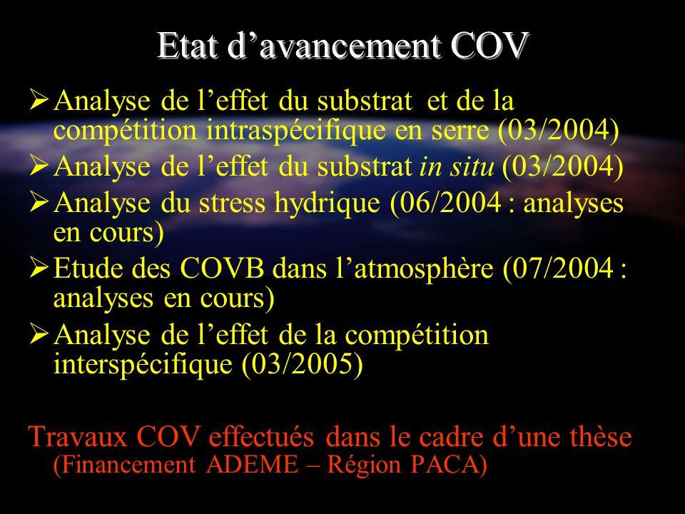 Etat d'avancement COVAnalyse de l'effet du substrat et de la compétition intraspécifique en serre (03/2004)