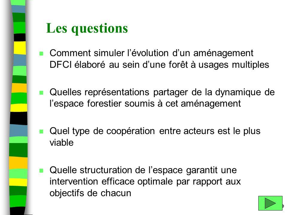 Les questions Comment simuler l'évolution d'un aménagement DFCI élaboré au sein d'une forêt à usages multiples.