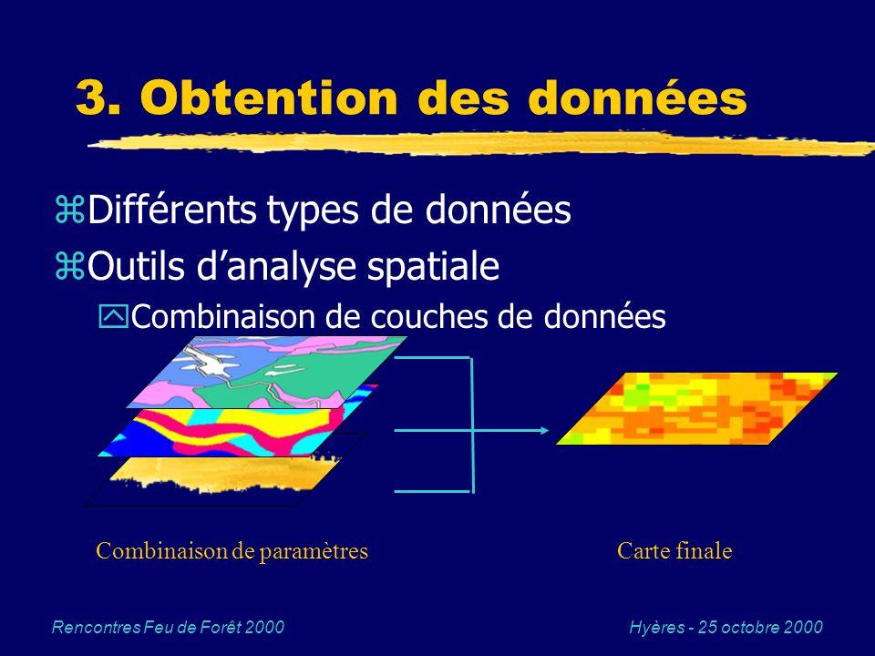 3. Obtention des données Différents types de données