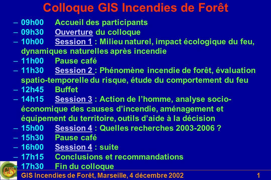 Colloque GIS Incendies de Forêt