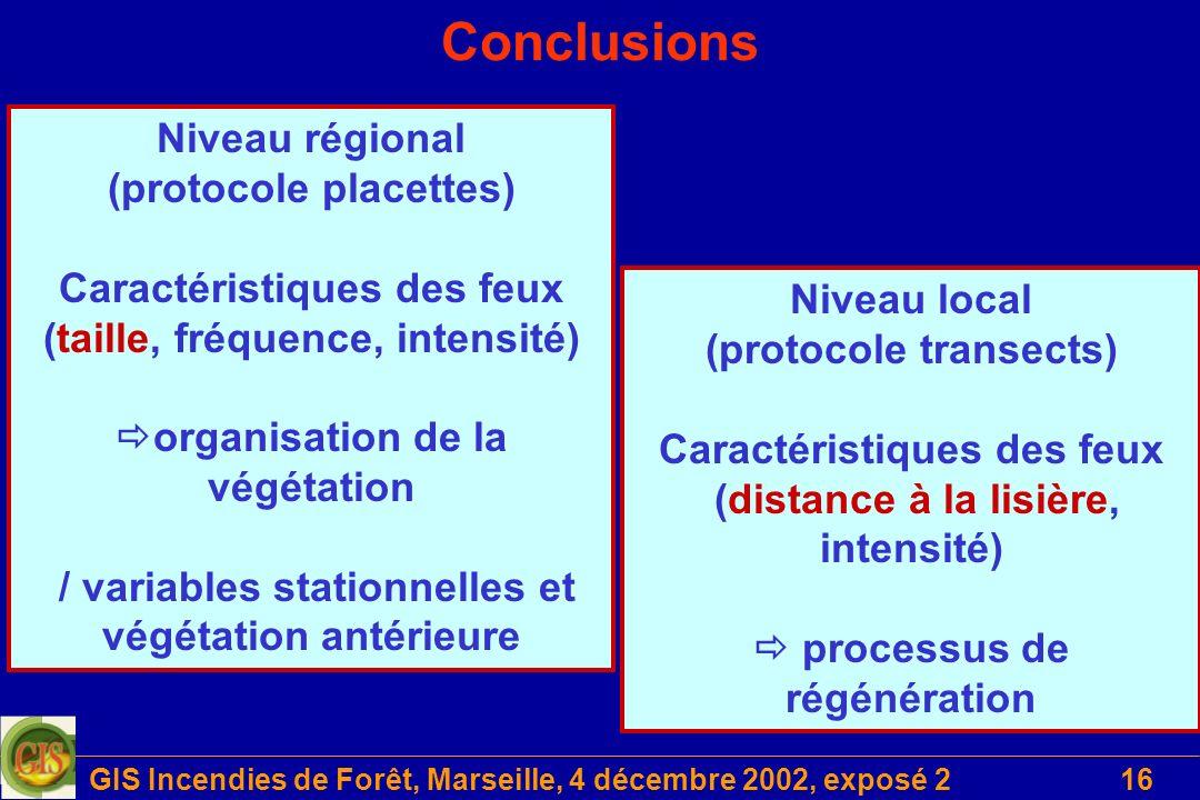 Conclusions Niveau régional (protocole placettes)