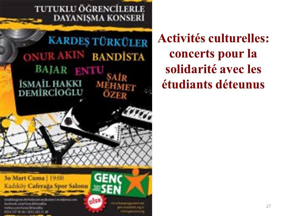 Activités culturelles: concerts pour la solidarité avec les étudiants déteunus