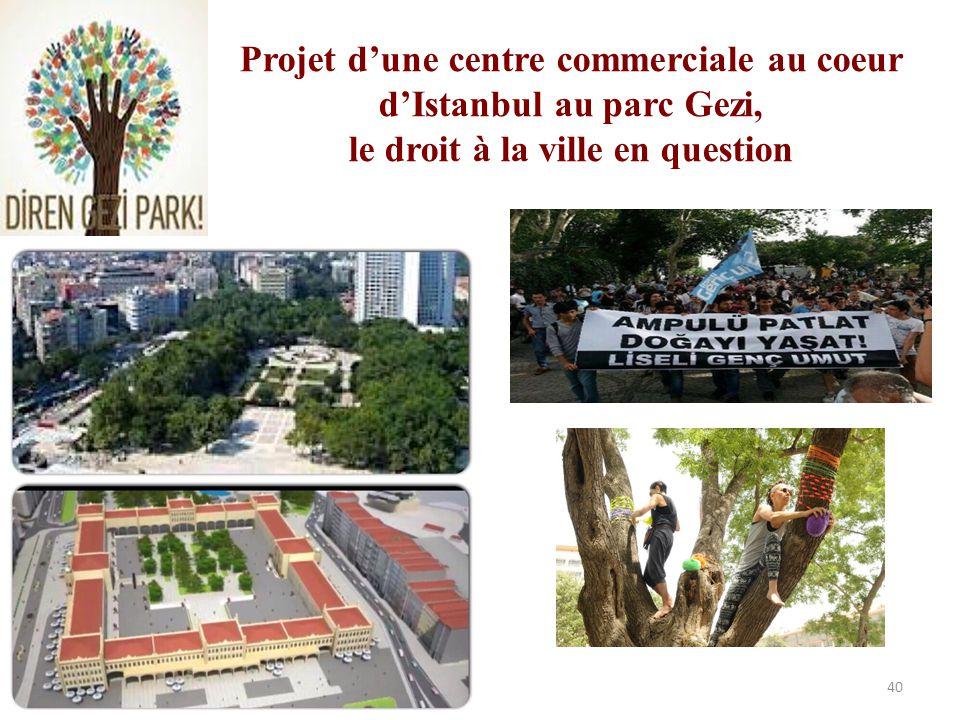 Projet d'une centre commerciale au coeur d'Istanbul au parc Gezi, le droit à la ville en question