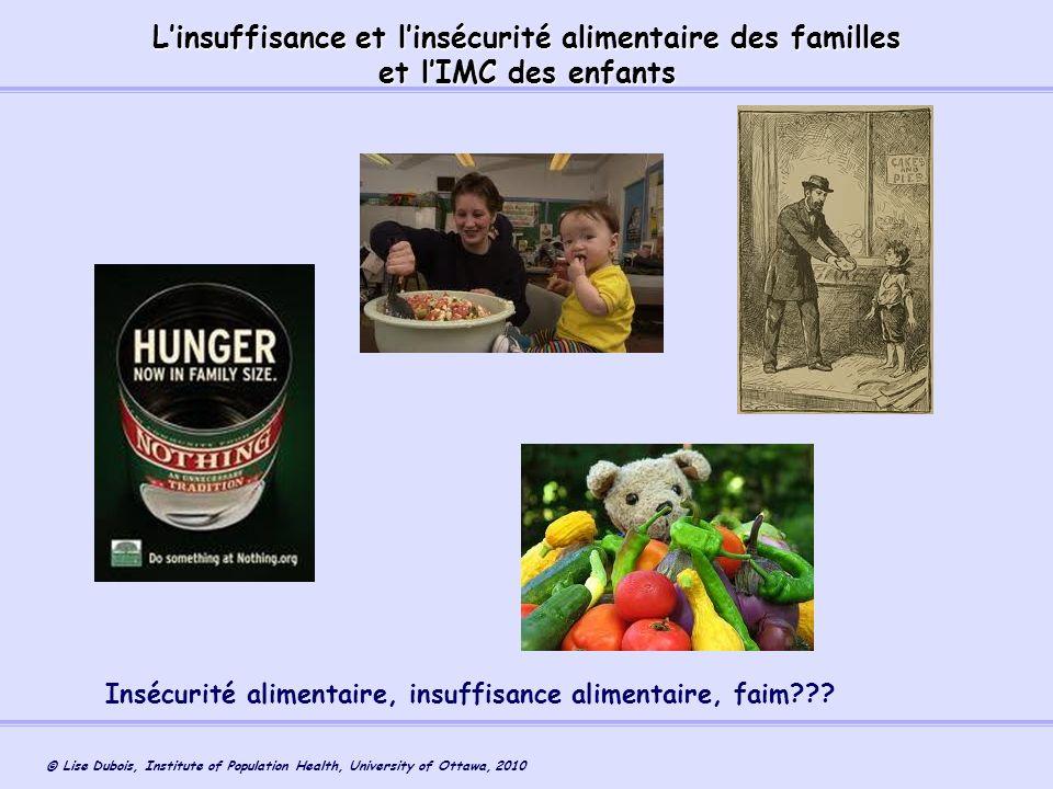 L'insuffisance et l'insécurité alimentaire des familles