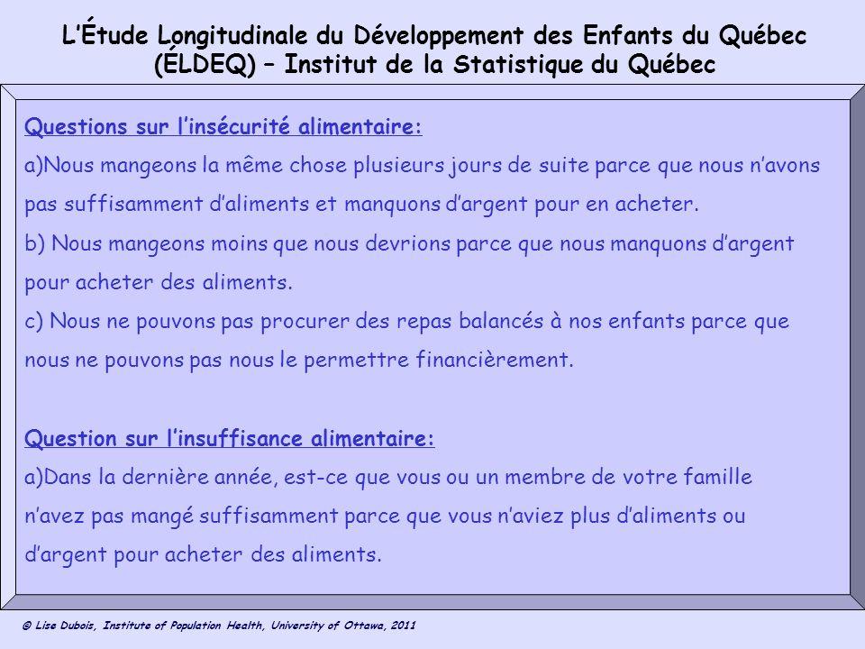 L'Étude Longitudinale du Développement des Enfants du Québec