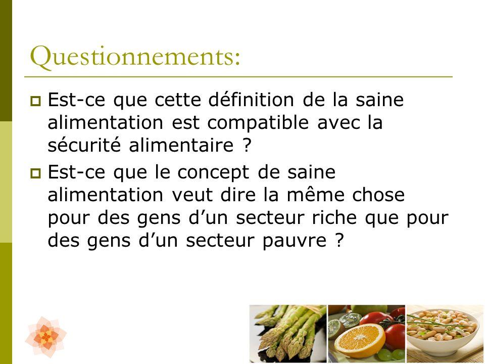 Questionnements: Est-ce que cette définition de la saine alimentation est compatible avec la sécurité alimentaire