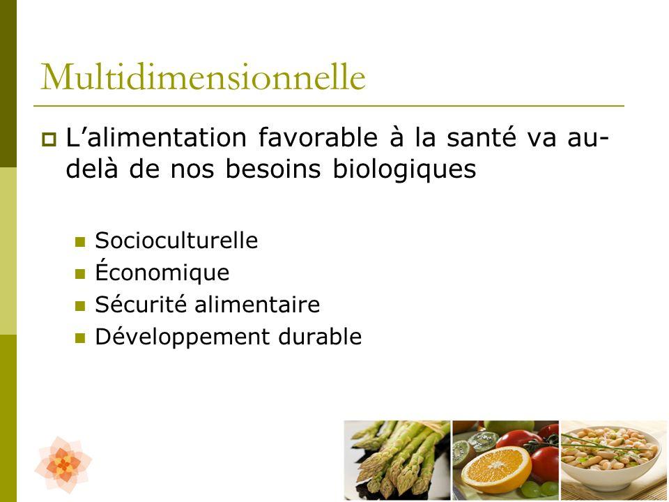 Multidimensionnelle L'alimentation favorable à la santé va au-delà de nos besoins biologiques. Socioculturelle.