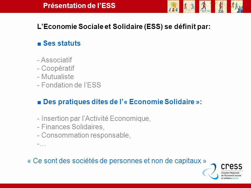 Présentation de l'ESS L'Economie Sociale et Solidaire (ESS) se définit par: ■ Ses statuts. - Associatif.