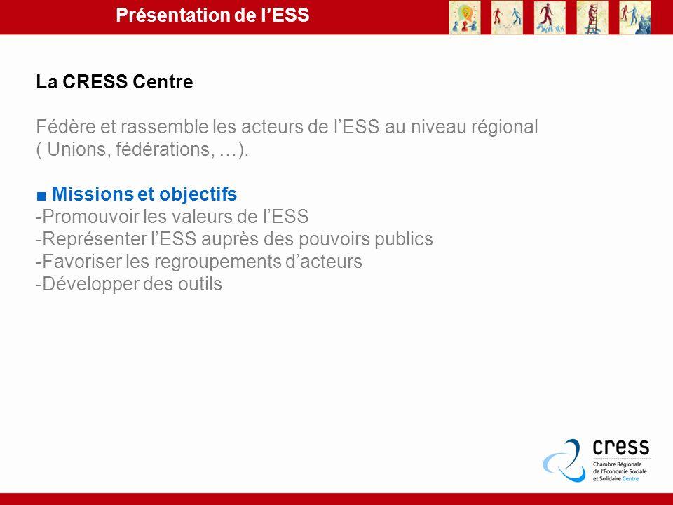 Présentation de l'ESS La CRESS Centre. Fédère et rassemble les acteurs de l'ESS au niveau régional ( Unions, fédérations, …).