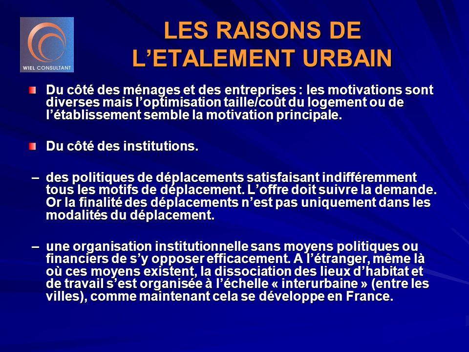 LES RAISONS DE L'ETALEMENT URBAIN