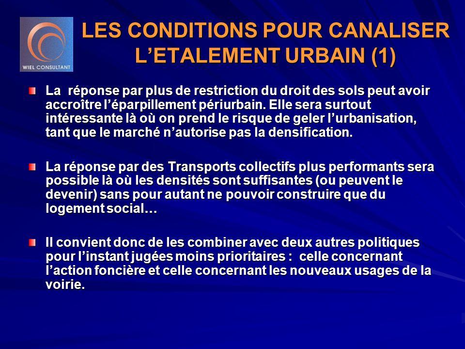 LES CONDITIONS POUR CANALISER L'ETALEMENT URBAIN (1)