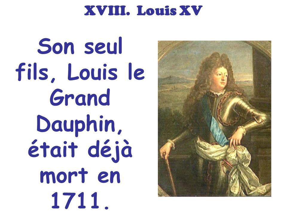Son seul fils, Louis le Grand Dauphin, était déjà mort en 1711.