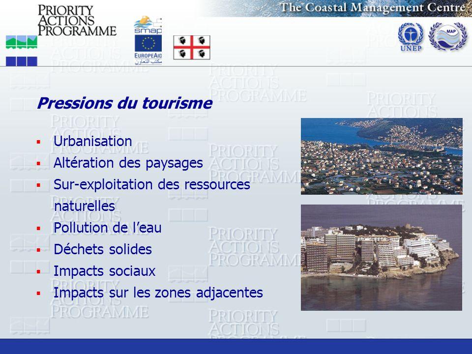 Pressions du tourisme Urbanisation Altération des paysages
