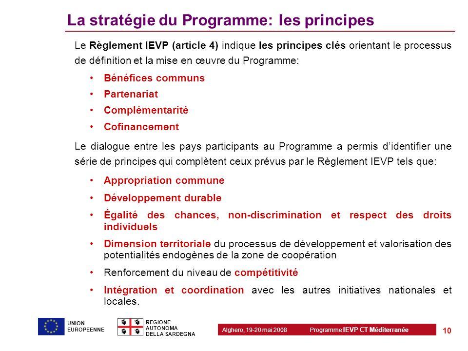 La stratégie du Programme: les principes