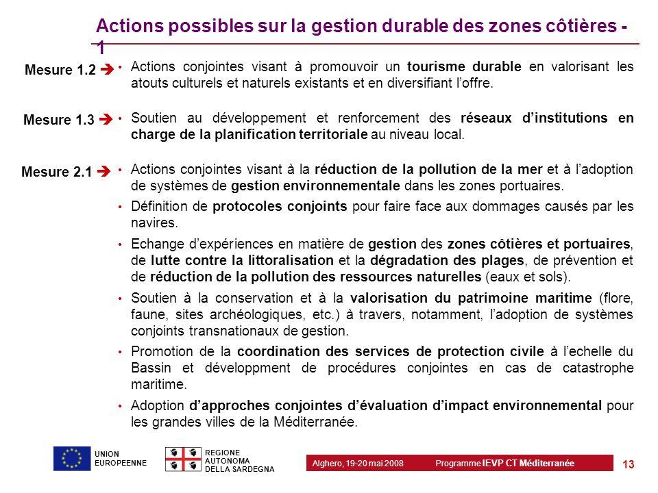 Actions possibles sur la gestion durable des zones côtières - 1