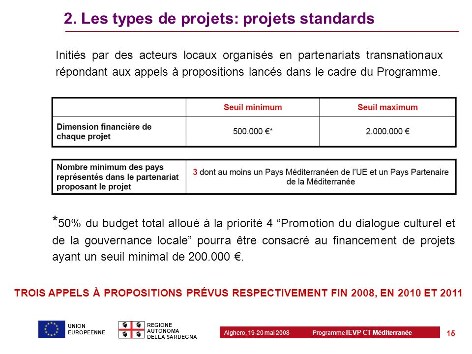 2. Les types de projets: projets standards