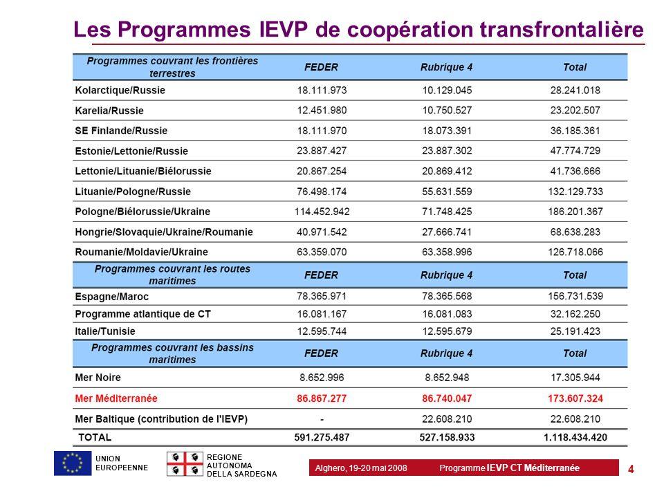 Les Programmes IEVP de coopération transfrontalière
