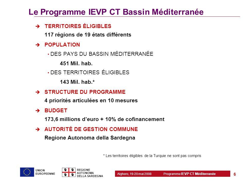 Le Programme IEVP CT Bassin Méditerranée