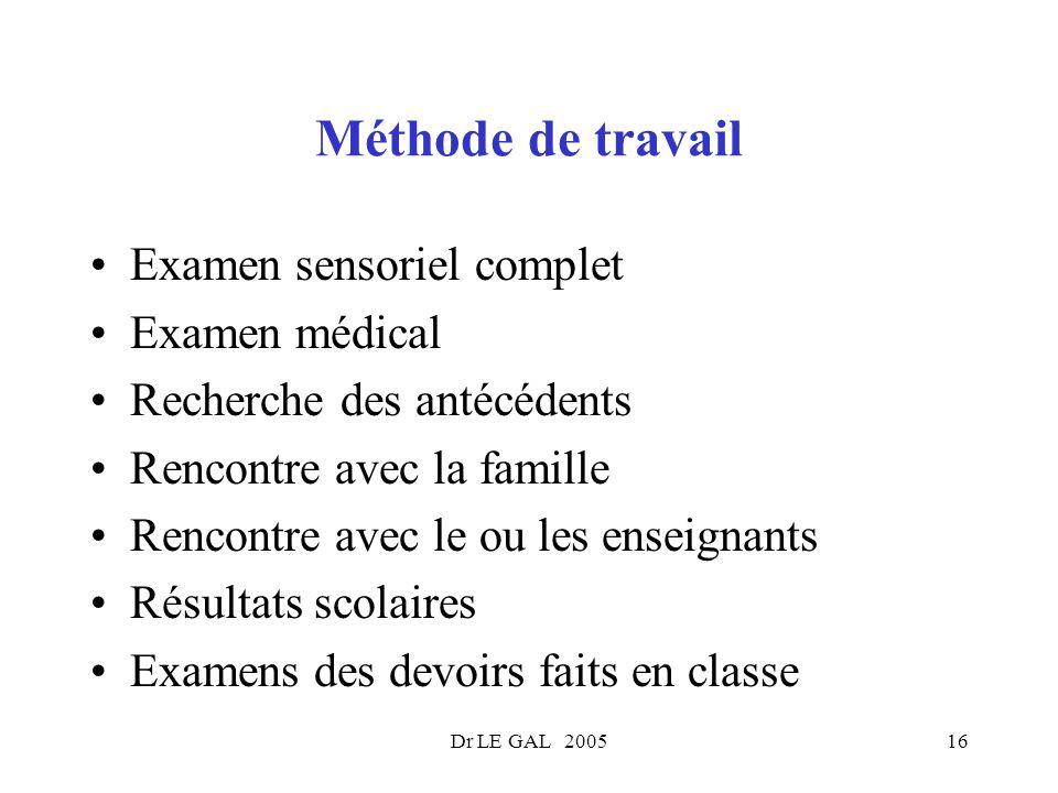 Méthode de travail Examen sensoriel complet Examen médical