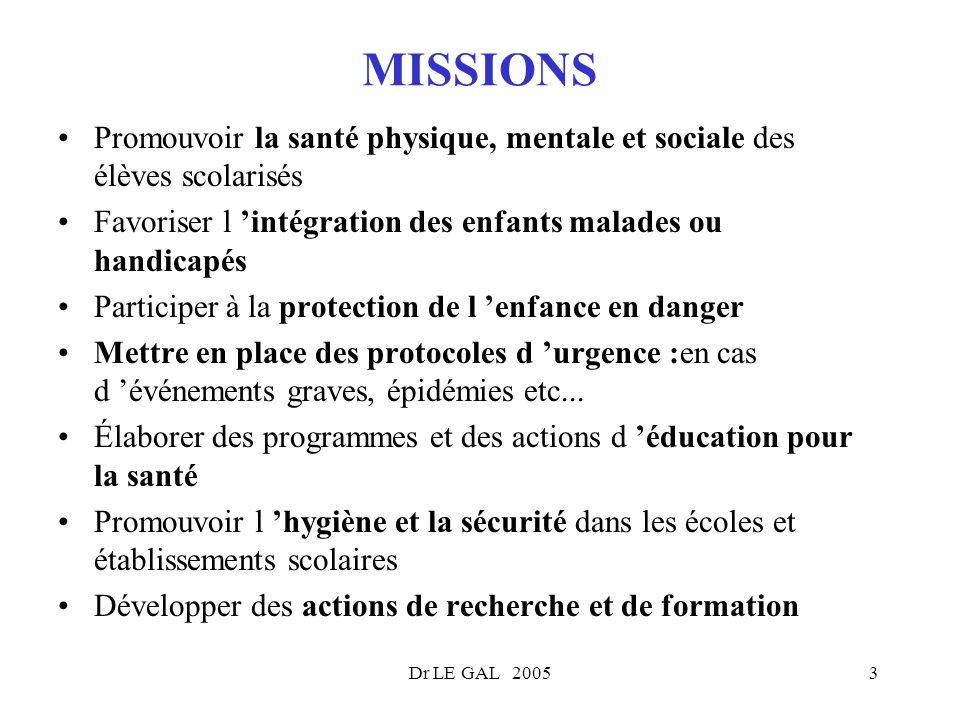 MISSIONS Promouvoir la santé physique, mentale et sociale des élèves scolarisés. Favoriser l 'intégration des enfants malades ou handicapés.