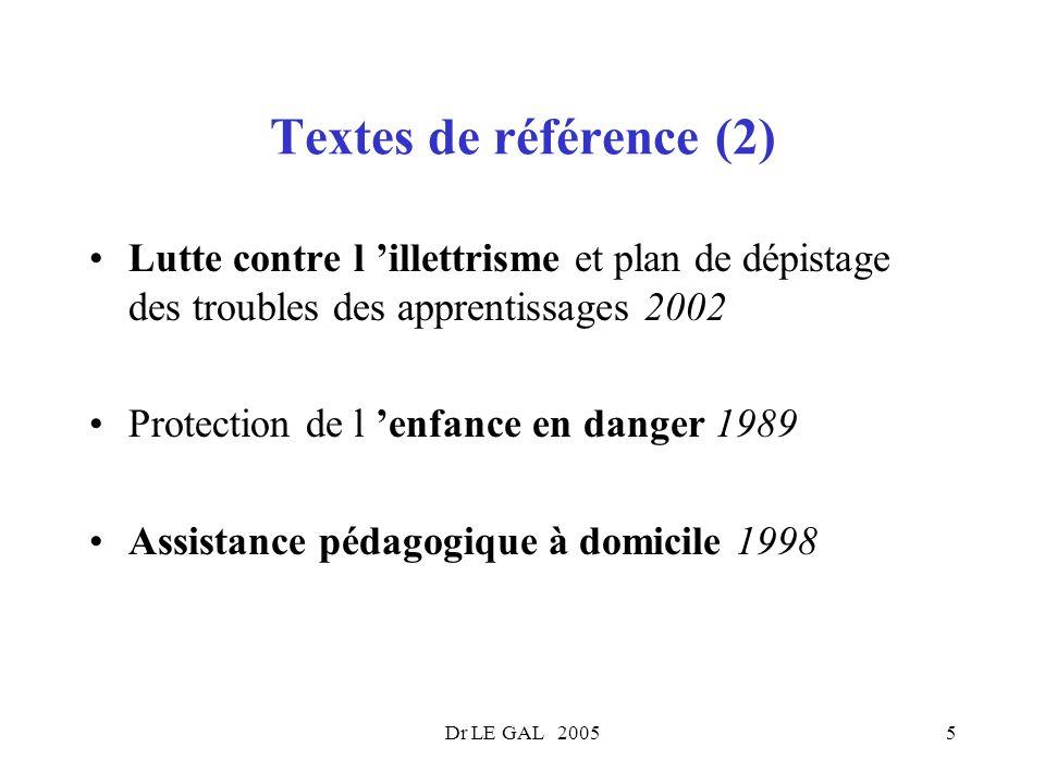Textes de référence (2) Lutte contre l 'illettrisme et plan de dépistage des troubles des apprentissages 2002.