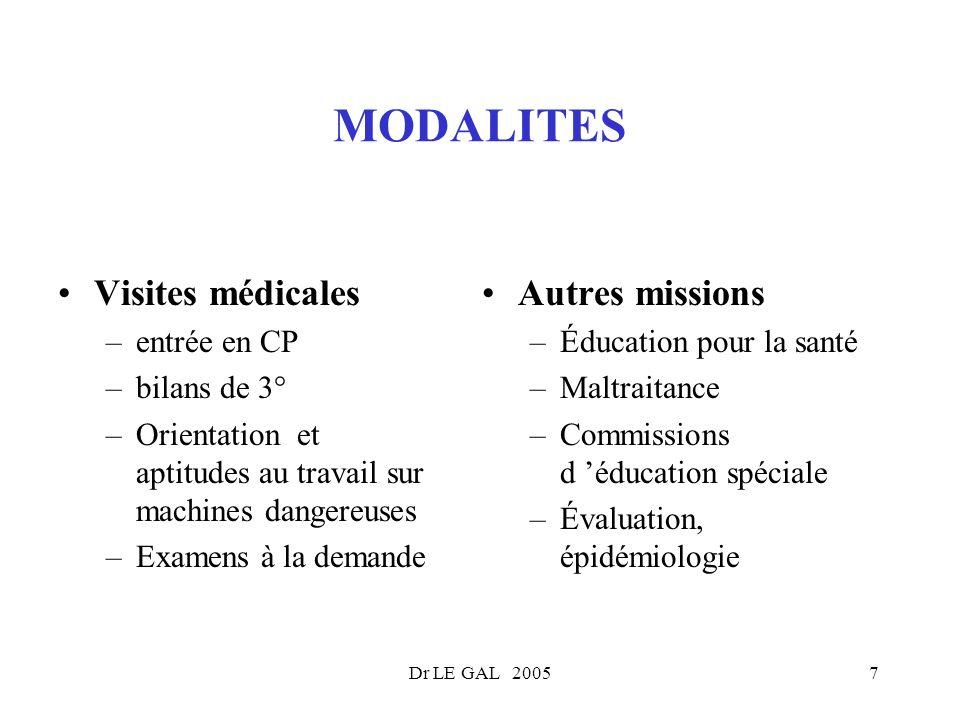 MODALITES Visites médicales Autres missions entrée en CP bilans de 3°